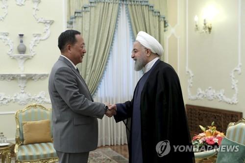 伊朗总统鲁哈尼会见朝鲜外相李勇浩(韩联社)
