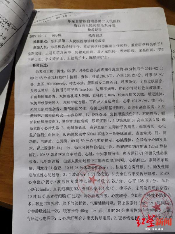 ↑医院抢救记录显示,邓大楣因急性颅脑损伤昏迷