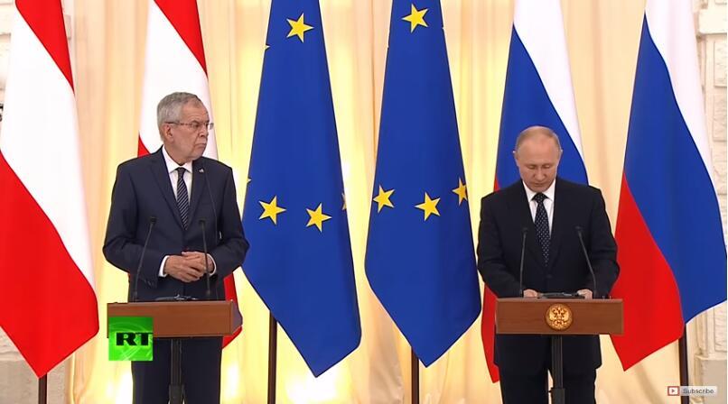 (奥地利总统亚历山大·范德贝伦和普京 图源:RT)