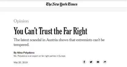 图为纽约时报上一篇呼吁欧洲人不要相信极右翼势力的评论文章