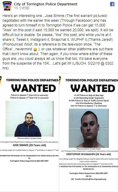 托灵顿警方脸书截图