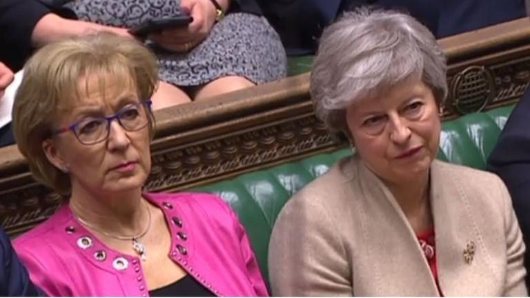 英国首相特雷莎·梅(右)与英下议院领袖利德索姆(左)。(图源:法新社)