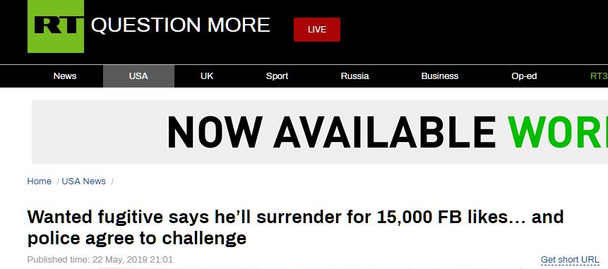 美通缉犯与警方谈条件:通缉海报获15000赞就自首_法国新闻_法国中文网
