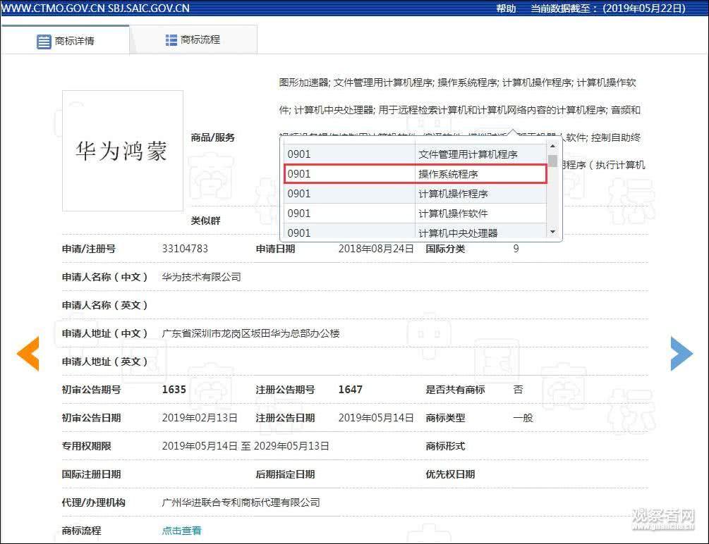 截图自国家知识产权局商标局网站 下同。