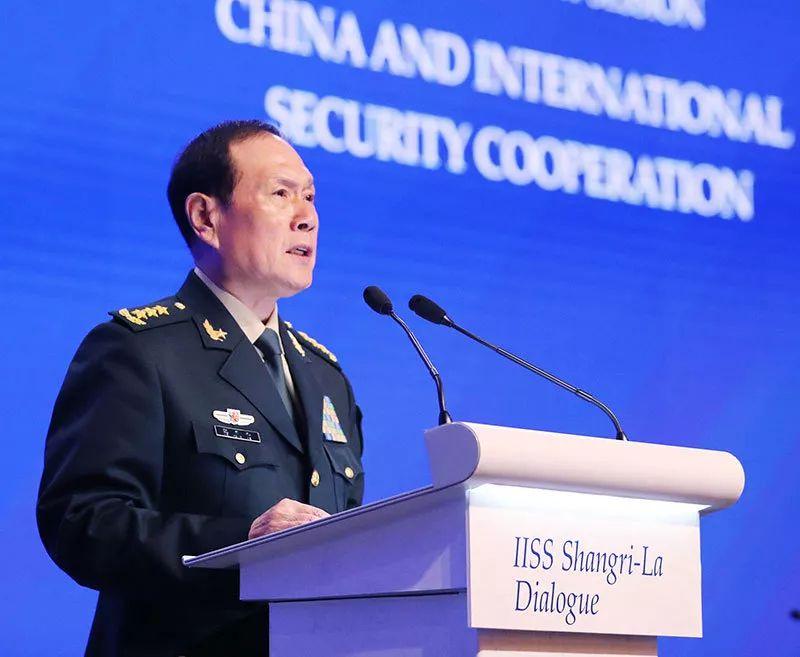 """6月2日上午,中国国务委员。兼国防部长魏凤和在""""中国与国际坦然配相符""""议题作大会说话。李晓伟 摄"""