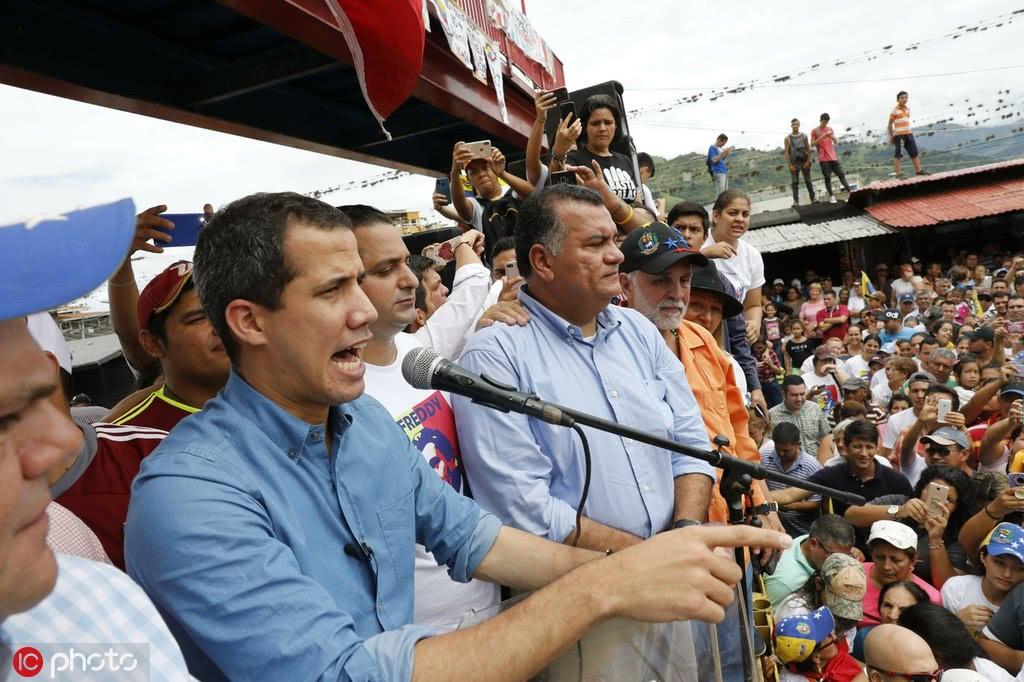 6月1日,委内瑞拉反对派领导人瓜伊多举行集会/IC Photo