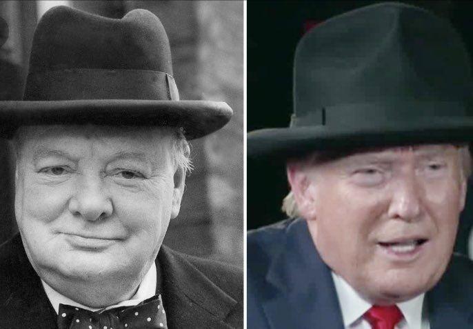 """推特网友对比丘吉尔(左)和特朗普(右)戴""""丘吉尔帽""""的样子"""
