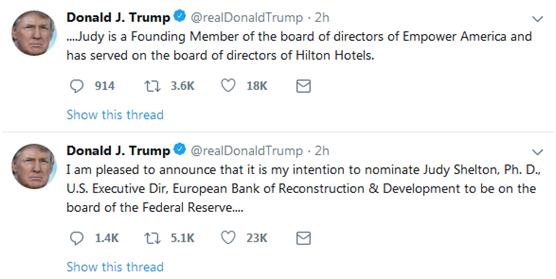 美国总统特朗普宣布美联储两项提名_外汇交易受法律保护