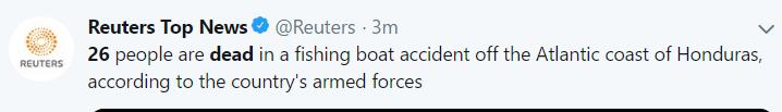 洪都拉斯沿岸一艘渔船沉没 造成至少26人死亡