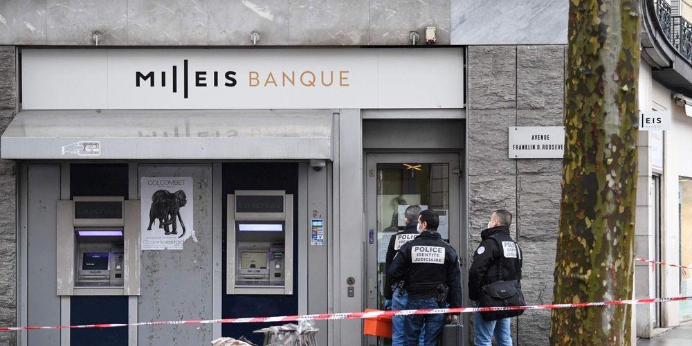 2019年1月,一家位于巴黎香榭丽舍大街的银行遭抢劫。(法新社图)