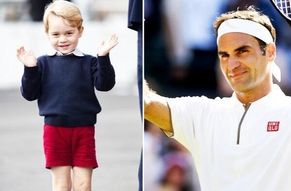 英国乔治小王子和偶像费德勒学网球 还被这样称赞