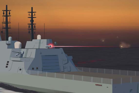 (想象图:装备在军舰上的激光武器)