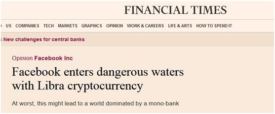 《金融时报》:脸书借数字货币Libra进入危险水域