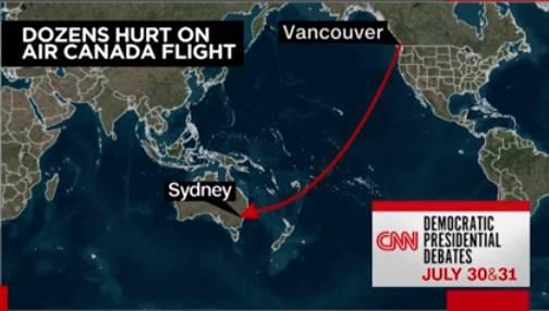 航班飞行示意图,图源:CNN视频报道