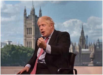 约翰逊接收BBC采访 图源:《太阳报》