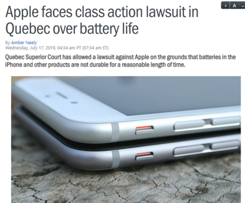 外媒:苹果因电池续航问题在加拿大遭集体诉讼
