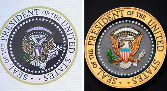 被惡搞的總統徽章(左)與真的總統徽章(右)