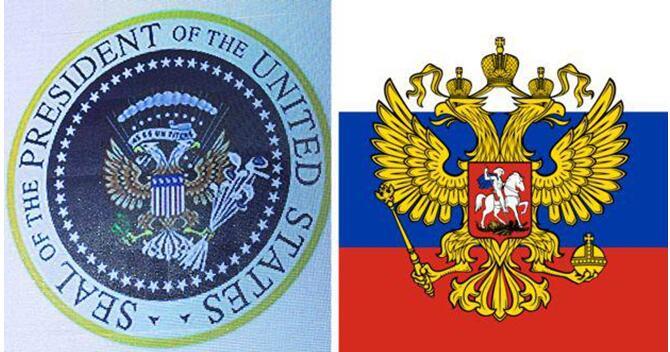 被惡搞的美國總統徽章(左)與俄羅斯國徽(右)