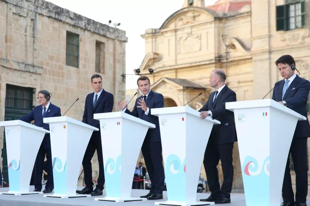 2019年6月14日,南欧峰会在马耳他都城瓦莱塔举办,预会领导人默示将通力合作解决不法移民问题。新华网记者袁韵摄