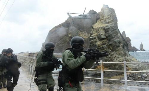 資料圖:韓軍獨島防御演習場景