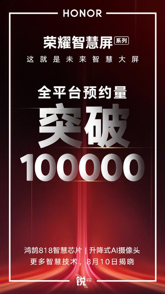 荣耀智慧屏全平台预约量破十万