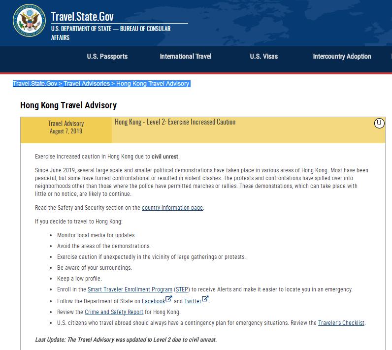 美国国务院7日升级旅游警示