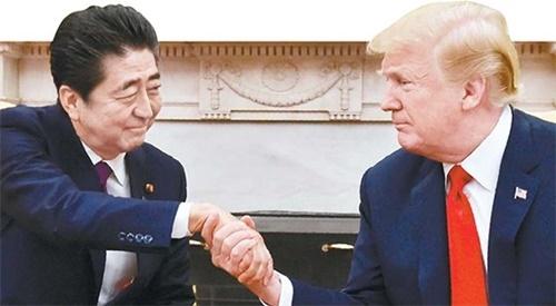 安倍与特朗普(日文版中央日报)