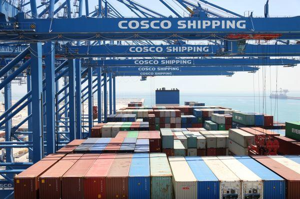 """资料图片:""""中远海运太阳轮""""在阿布扎比码头现场作业。(新华社)"""