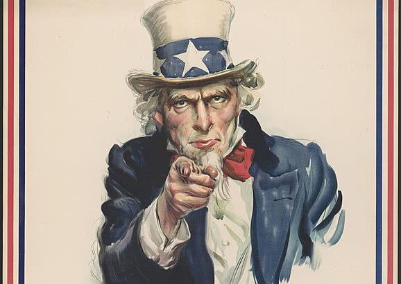 """美国著名征兵海报""""山姆大叔需要你""""。"""