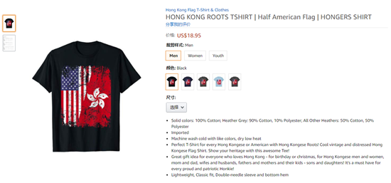 图为亚马逊售卖T恤商品信息