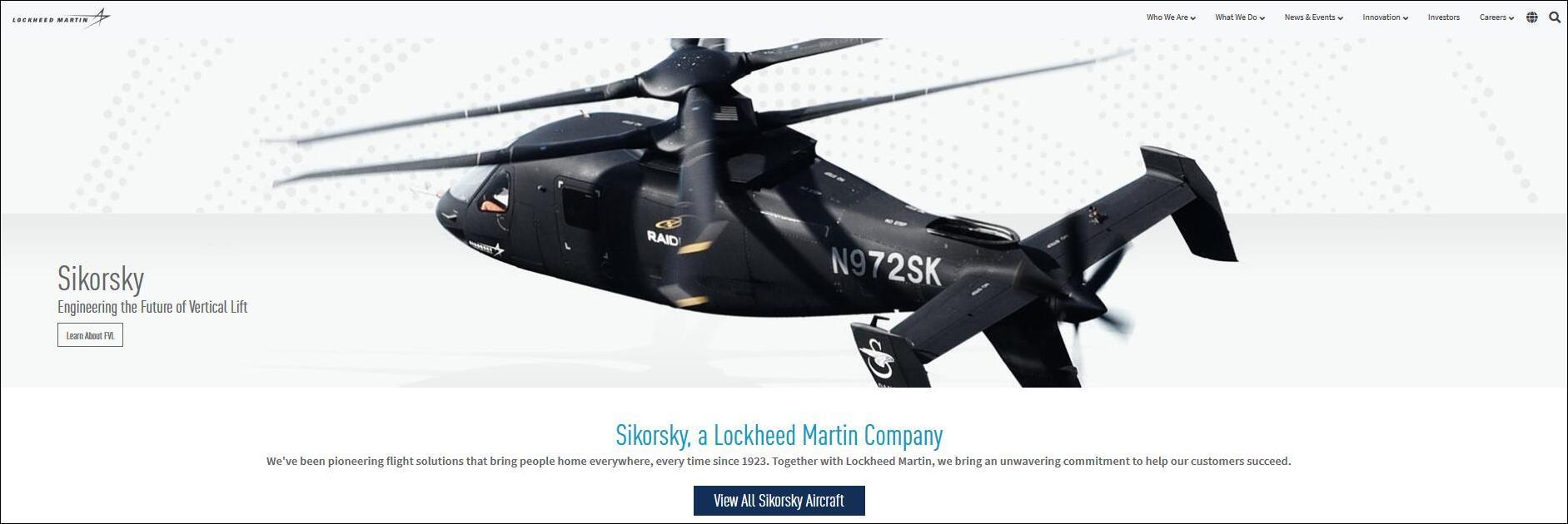 截图自西科斯基飞机公司网站