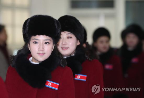 2018年2月,朝鲜啦啦队抵达韩国。(韩联社)