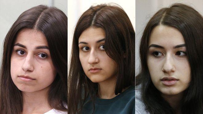 在杀害她们的父亲时,安吉丽娜(左)18岁,玛丽亚(中)17岁,克里斯蒂娜19岁。图据BBC新闻