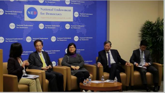 △李柱铭(左二)、麦燕廷(左三)、李卓仁(右二)、罗冠聪(右一)2019年5月14日在美国国家民主基金会作专题演讲