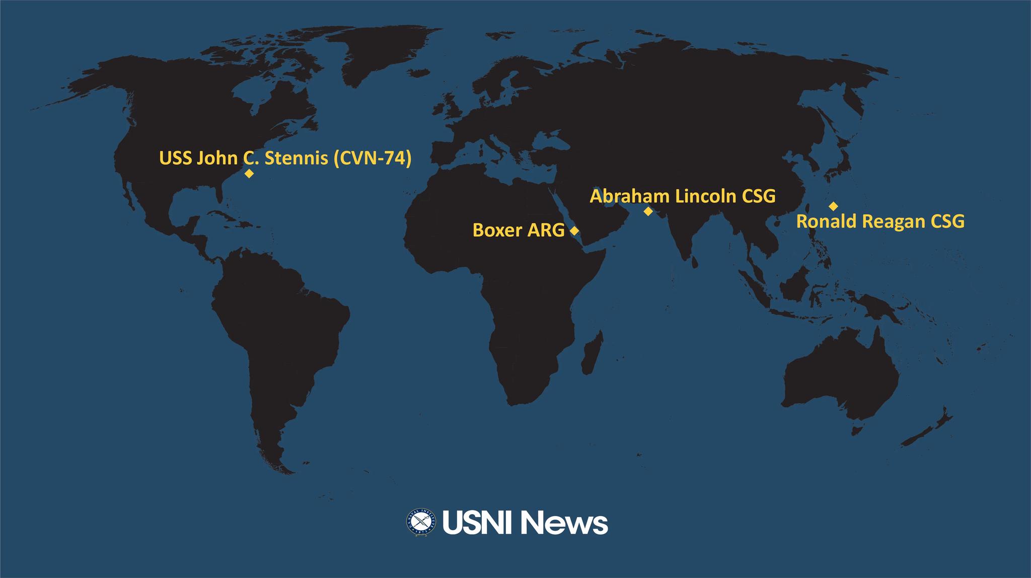 """""""林肯""""號航母打擊大隊在中東執行任務 圖源:USNI"""