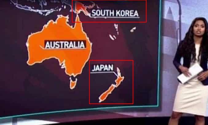 """""""今日俄罗斯""""电视台节目中的地图出现错误。(图源:卫报)"""