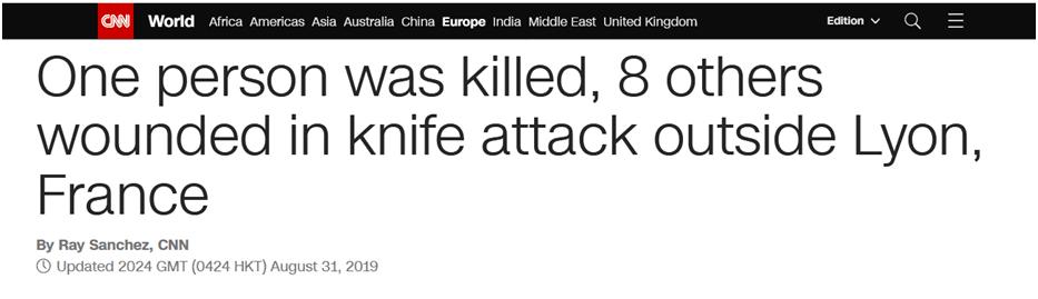 法国东南部发生持刀袭击事件,致1死8伤