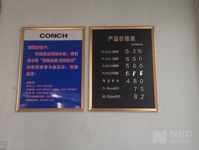 济宁海螺厂区内悬挂的产品价特殊