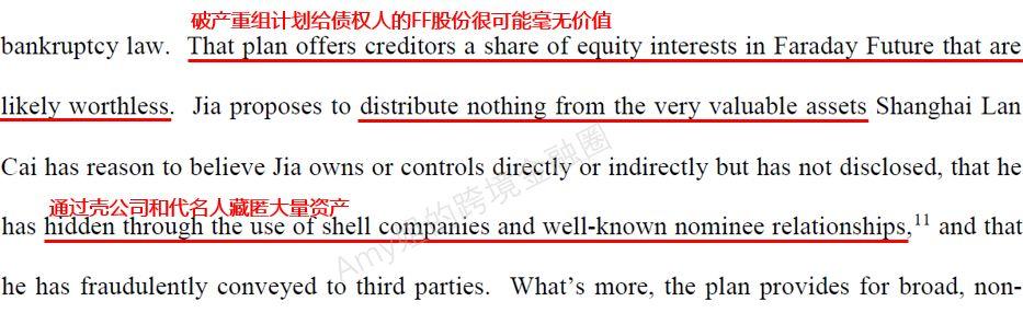 △图:债权人提交给破产法院,怀疑贾跃亭