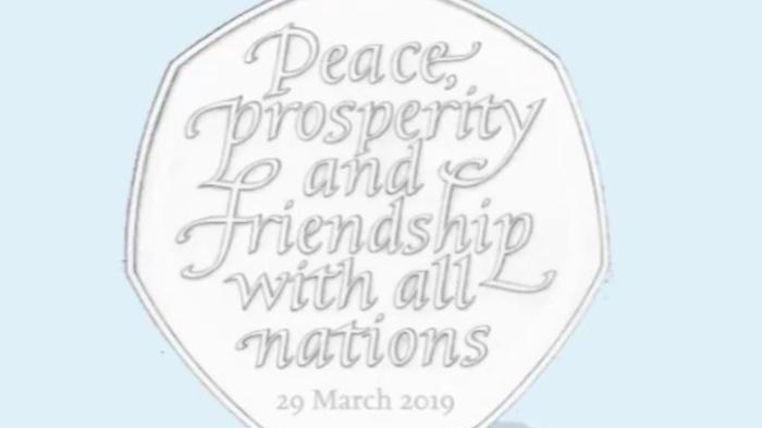 原定于2019年3月29日发行的脱欧纪念币。(图片来源:英国皇家铸币局)