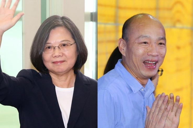 蔡英文与韩国瑜(来源:台湾《联合报》)