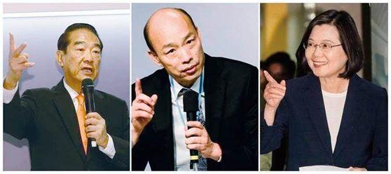 """从左至右挨次为:宋楚瑜、韩国瑜、蔡英文 图源:台湾""""中时电子报"""""""