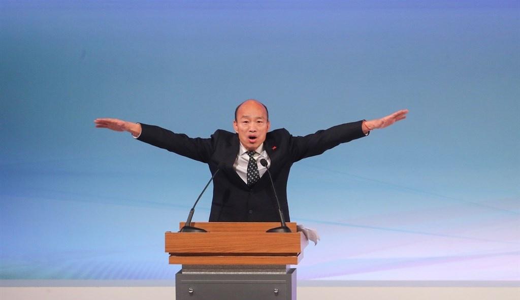 """韩国瑜在辩论会上 图自""""中央社"""""""