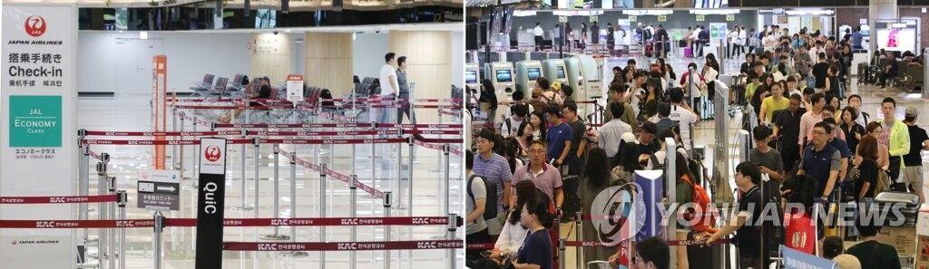 7月21日,在首尔金浦机场的国际线值机柜台,前往日本东京的游客(左图)寥寥无几,与排起长龙前往中国上海的游客(右图)形成鲜明对比。(图源:韩联社)