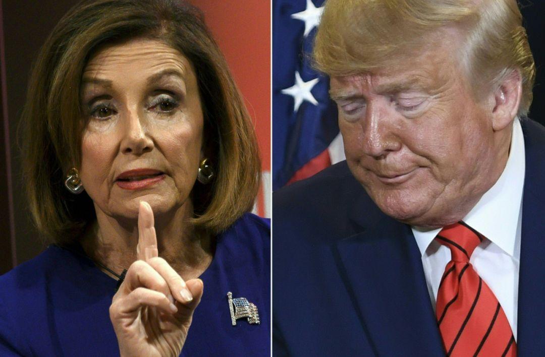 拼版照片显示的是美国总统特朗普(右)和美国国会众议院议长、民主党人佩洛西。(新华社/法新)