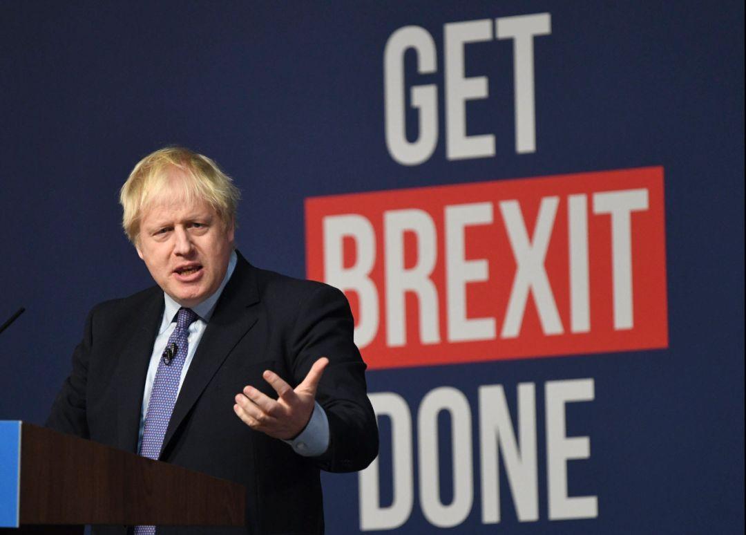 11月24日,英国首相、保守党领袖约翰逊在大选前公布竞选宣言。(新华社发)