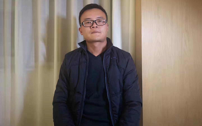 庭审后,王广超接受新京报记者专访。新京报记者 齐超 摄