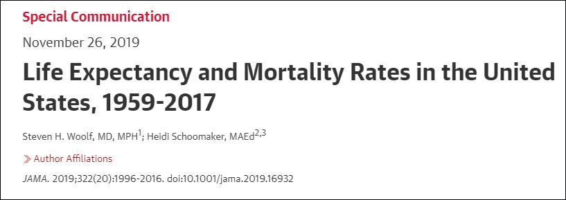 《美国医学会杂志》报告:1959-2017美国预期寿命和死亡率