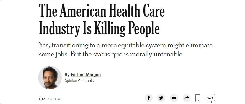 《美国医疗体系正在杀人》,纽约时报截图
