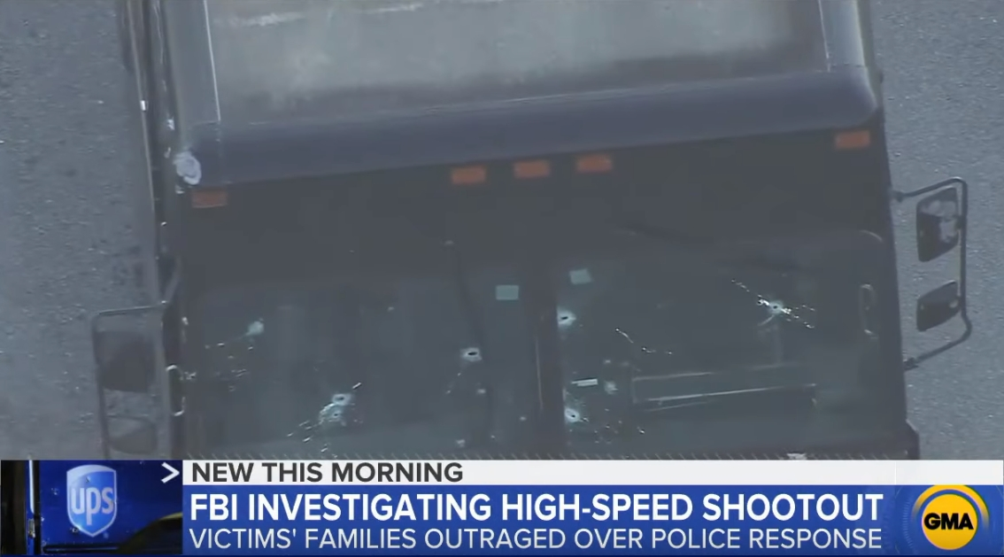 UPS卡车前窗的弹孔 视频截图